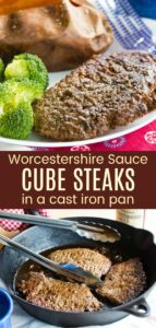 Cube Steaks in Cast Iron Pinterest Collage