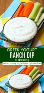 Easy Greek Yogurt Ranch Dip or Dressing Pinterest Collage