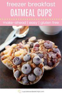 Make Ahead Breakfast Frozen Oatmeal Cups Pin Template Pink