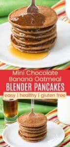 Healthy Gluten Free Chocolate Banana Oatmeal Pancakes Pinterest Collage