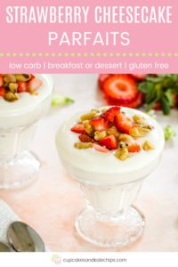 Low Carb Strawberry Cheesecake Parfaits Pin Template Pink