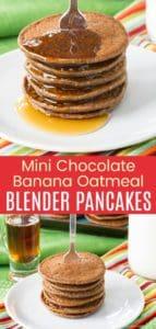 Mini Chocolate Banana Oatmeal Pancakes Pinterest Collage