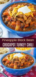 Pineapple Black Bean Crockpot Turkey Chili Pinterest Collage
