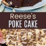 Reese's Poke Cake Pinterest Collage