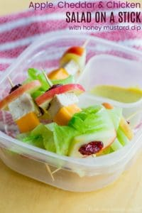 Apple Cheddar Chicken Salad on a Stick School Lunch Idea