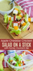 Apple Cheddar Chicken Salad on a Stick with Honey Mustard Dressing Pinterest Collage