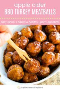Apple Cider BBQ Turkey Meatballs Pin Template Pink