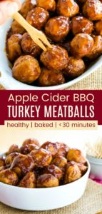 Apple Cider BBQ Turkey Meatballs Pinterest Collage