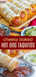 Cheesy Baked Hot Dog Taquitos Pinterest Collage