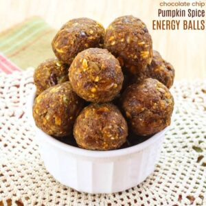No-Bake Pumpkin Energy Balls in a white bowl