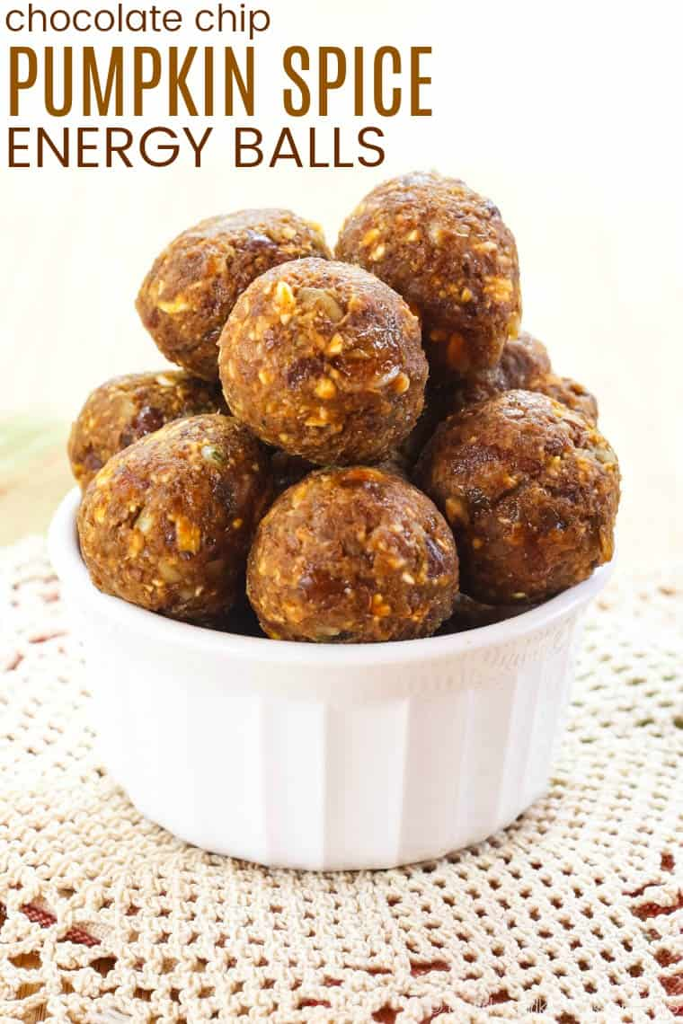 No-Bake Pumpkin Energy Balls with pumpkin pie spice and chocolate chips