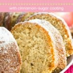 Gluten Free Apple Cider Donut Cake Recipe Pin Template Pink