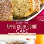 Gluten Free Apple Cider Donut Cake Recipe Pinterest Collage