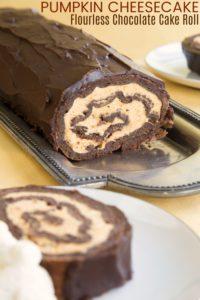 Gluten Free Pumpkin Cheesecake Chocolate Roll Cake