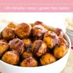 Healthy Baked BBQ Turkey Meatballs Pin Template Pink