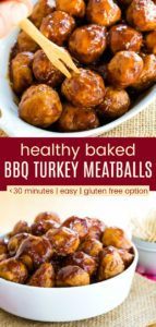 Healthy Baked BBQ Turkey Meatballs Pinterest Collage