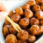 Easy Apple Cider Barbecue Turkey Meatballs being picked up with a appetizer pick