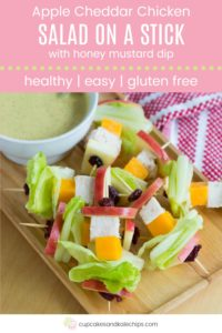 Healthy Chicken Salad on a Stick Pin Template Pink