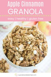 Homemade Apple Cinnamon Granola Recipe Pin Template Pink