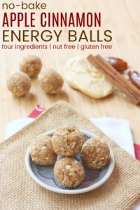 Four-Ingredient Apple Cinnamon No-Bake Energy Balls on a small plate