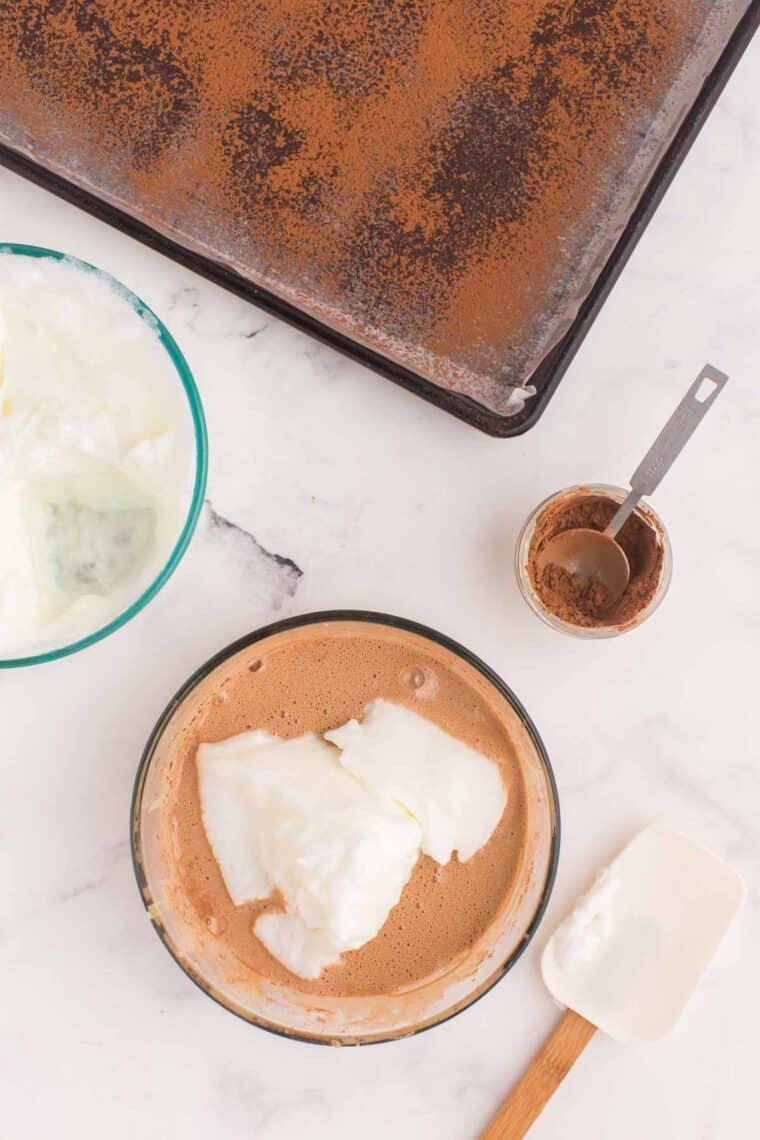 Folding egg whites into cake batter