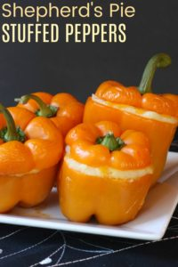 Shepherds Pie Stuffed Pepper Recipe with ground beef and mashed potatoes topping