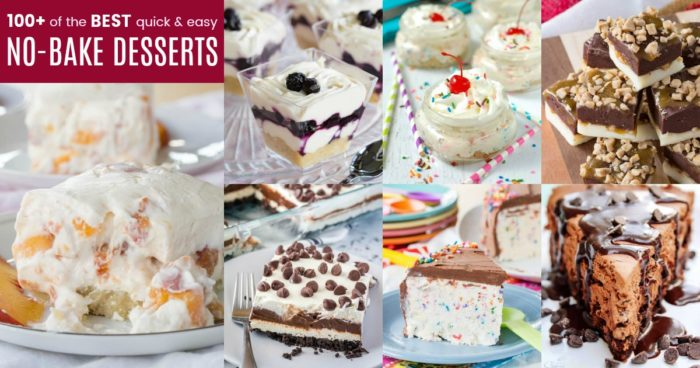horizontal collage of some of the best no-bake desserts