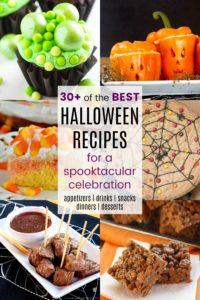 Collage of Best Easy Halloween Recipes for Desserts Drinks Snacks Appetizers Dinner