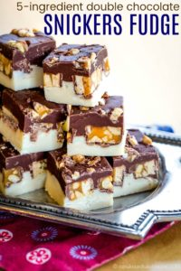 Easy Snickers Candy Bar Fudge Recipe image with title