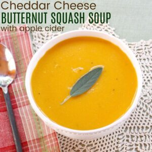 Bowl of Apple Cheddar Squash Soup from overhead