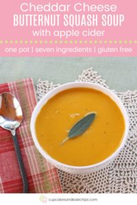 Apple Cider Cheddar Cheese Butternut Squash Soup Recipe Pin Template Pink