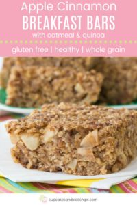 Apple Cinnamon Quinoa Oatmeal Breakfast Bars Pin Template Pink