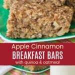 Gluten Free Apple Breakfast Bars Pinterest Collage