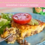 Low Carb Bacon Cheeseburger Crustless Quiche Recipe Pin Template Pink