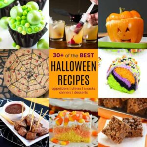 Square collage of easy halloween food ideas