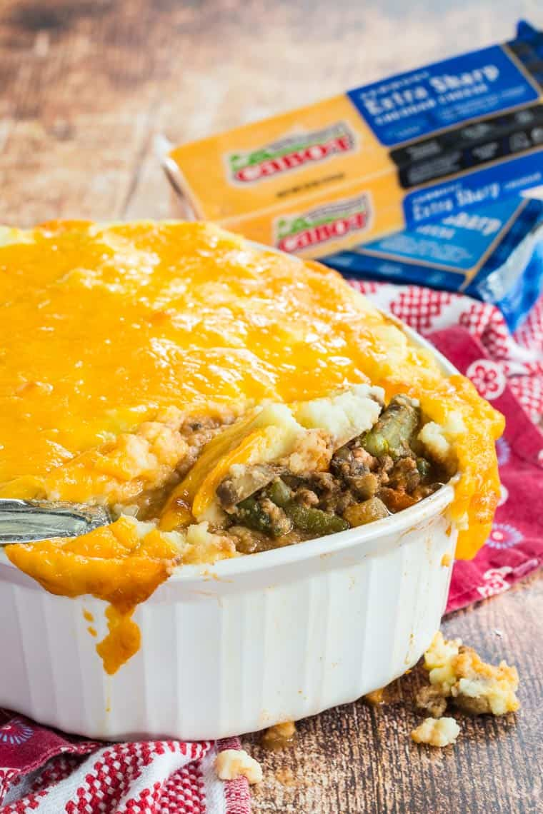 Low Carb Shepherd's Pie made with Cabot Cheddar Cheese