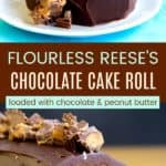 Flourless Peanut Butter Cup Chocolate Roll Cake Recipe Pinterest Collage