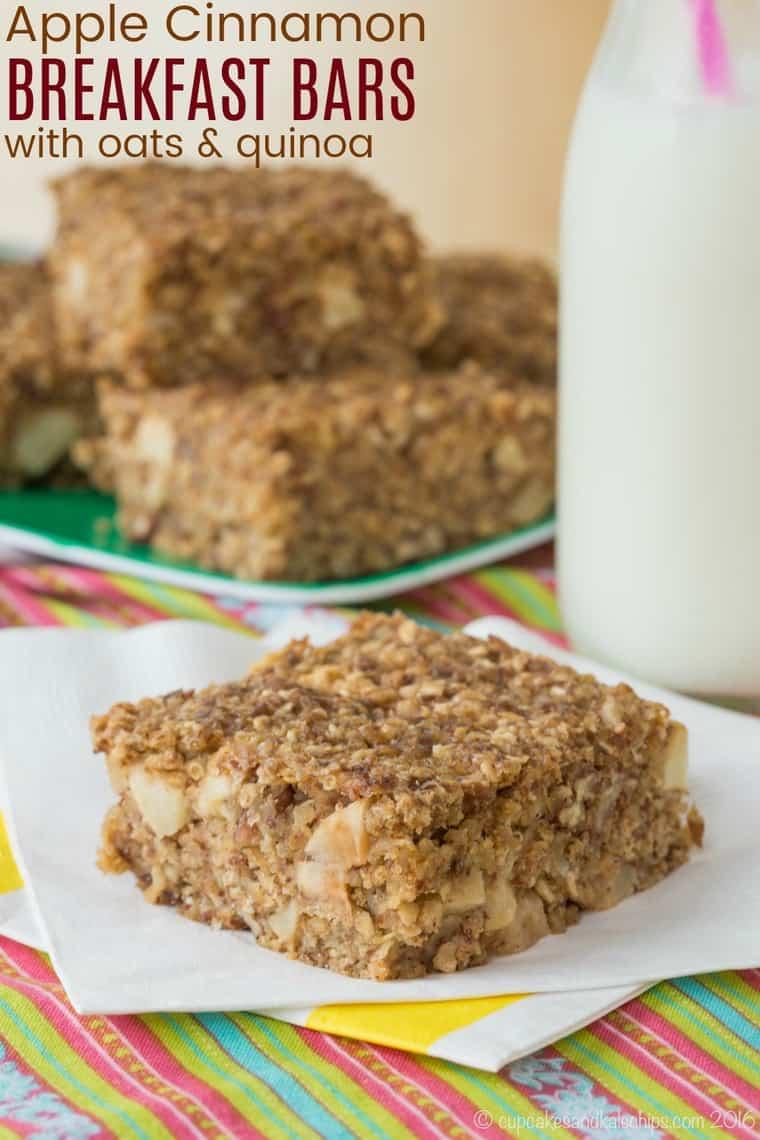 Apple Cinnamon Quinoa Oatmeal Breakfast Bar Recipe