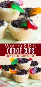 Gummy Worm and Oreo Dirt Cookie Cup Recipe Pinterest Collage