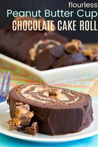 Gluten Free Reeses Chocolate Roll Cake Recipe image with title