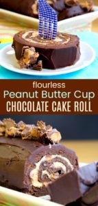 Flourless Reese's Chocolate Peanut Butter Cake Roll Pinterest Collage