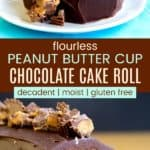 Chocolate Peanut Butter Cake Roll Recipe Pinterest Collage