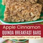 Apple Cinnamon Quinoa Oatmeal Breakfast Bars Pinterest Collage