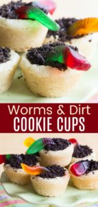 Easy Cookie Cups with Gummy Worms and Oreo Dirt Pinterest Collage