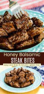 Gluten Free Quick and Easy Honey Balsamic Steak Bites Pinterest Collage