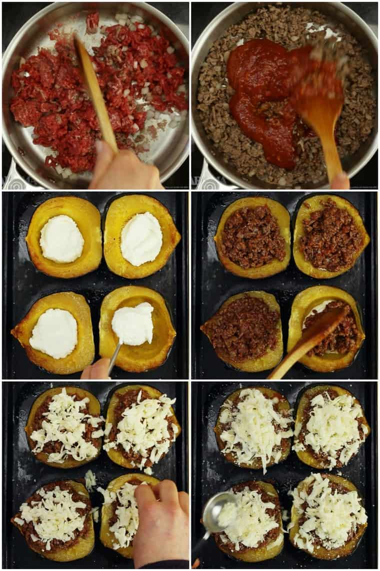 Collage of Six Steps for How to Make Italian Baked Stuffed Acorn Squash