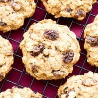 Easy Gluten Free Vegan Oatmeal Raisin Cookies