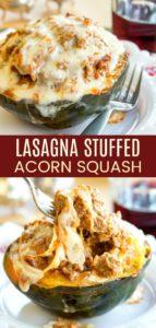Lasagna Stuffed Acorn Squash Recipe Pinterest Collage