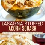 Cheesy Lasagna Stuffed Acorn Squash Pinterest Collage