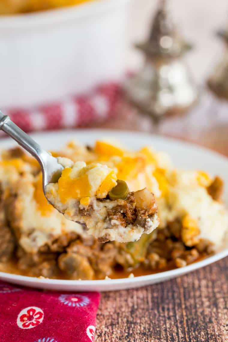A fork holding a bite of Low Carb Shepards Pie